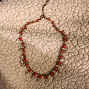 Coral/Diamond/Gold Necklace